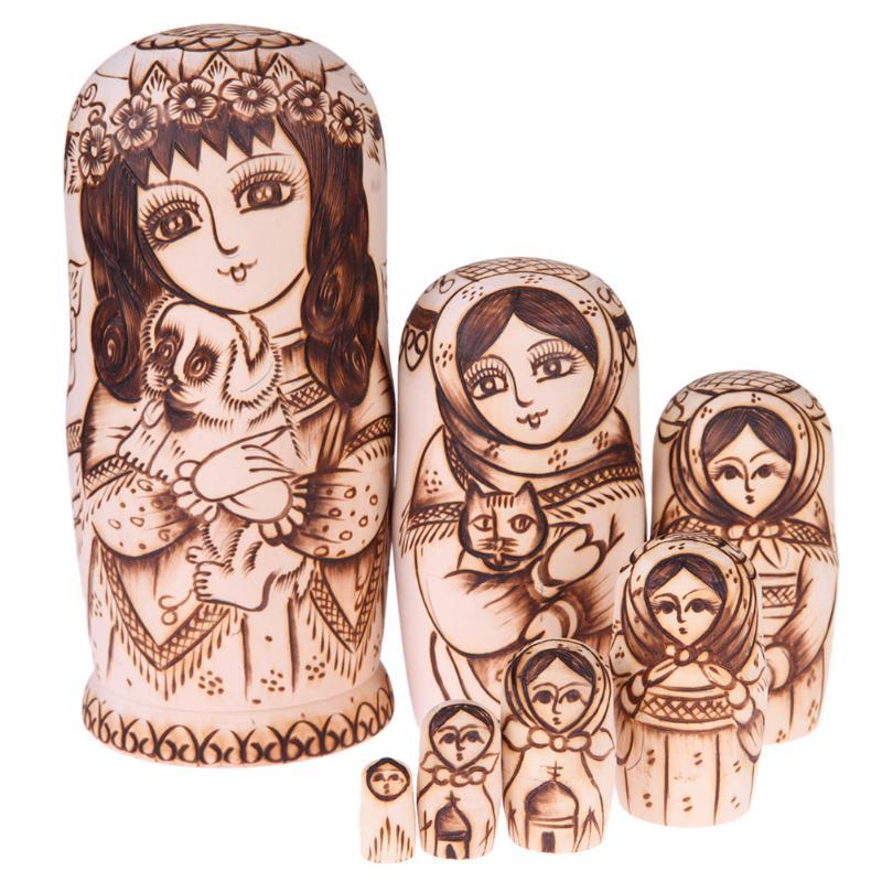 7pcs/set Basswood Dolls Girl Hold Dog Pattern Wooden Matryoshka Dolls Handmade Russian Nesting Toys Wood Craft Gift