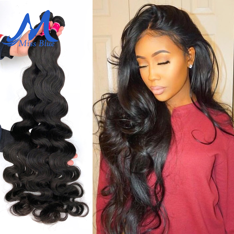 Missblue Body Wave Peruvian Hair Weave Bundles 100% Human Hair 30 32 34 36 38 40 Inch 3/4 Bundle Natural Color Remy Hair Weft