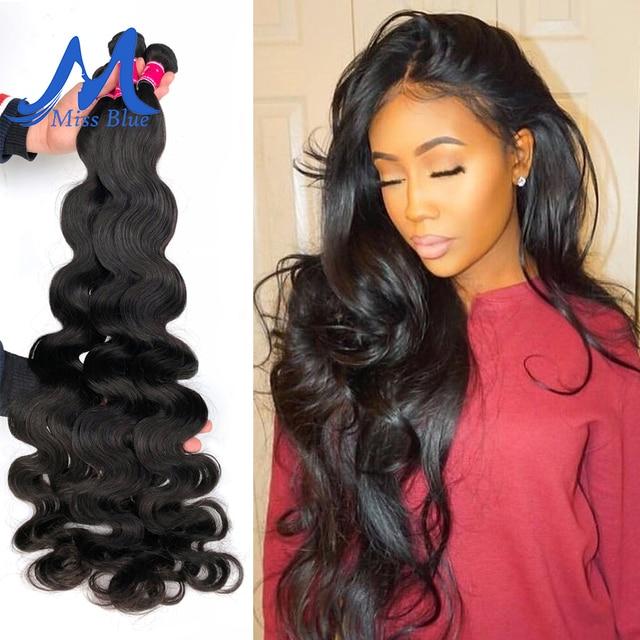 Missblue Peruvian Body Wave Hair Weave Bundles 100% Human Hair Bundles 30 32 34 36 38 40 Inch Natural Color Remy Hair Extensions