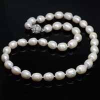 Hot Sale Charms White Natural Freshwater Barrel Rice Pearl Beads Necklalce 7 8mm 11 13mm High