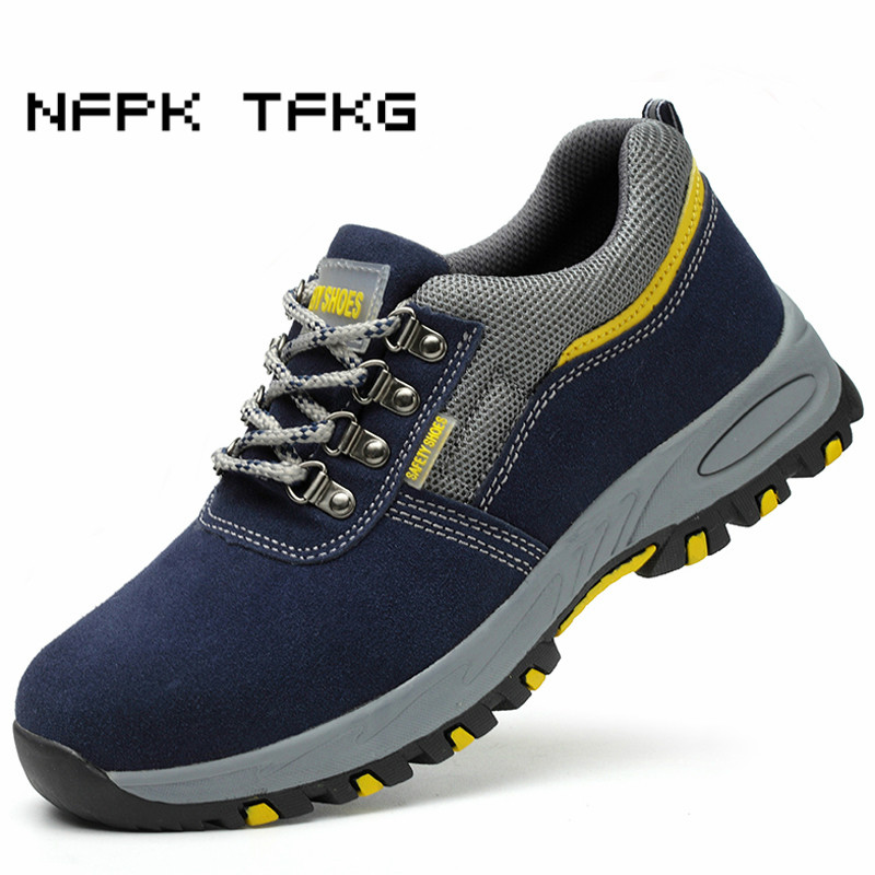 fashion worker dress large size mens breathable steel toe caps work safety shoes cow suede leather anti-pierce security boots все цены