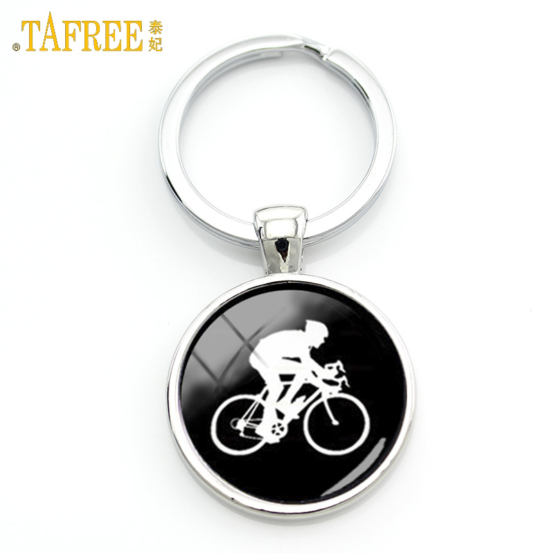 TAFREE Casual Sports Cyclist Keychain Minimalist Cycling Silhouette Art Key Chain Bicycle Bike Sportsmen Gifts Jewelry KC353