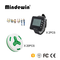 Mindewin 433 МГц Беспроводная система вызовов 2 шт часы пейджер M-W-1 и 20 шт Таблица кнопка вызова M-K-4