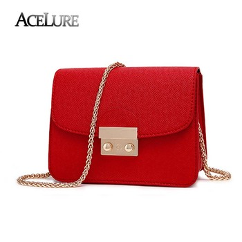 ACELURE Summer Brand Bags Women Leather Handbags Chain Small Women Messenger Bag Candy Color Women Shoulder Bag Party Lock Purse