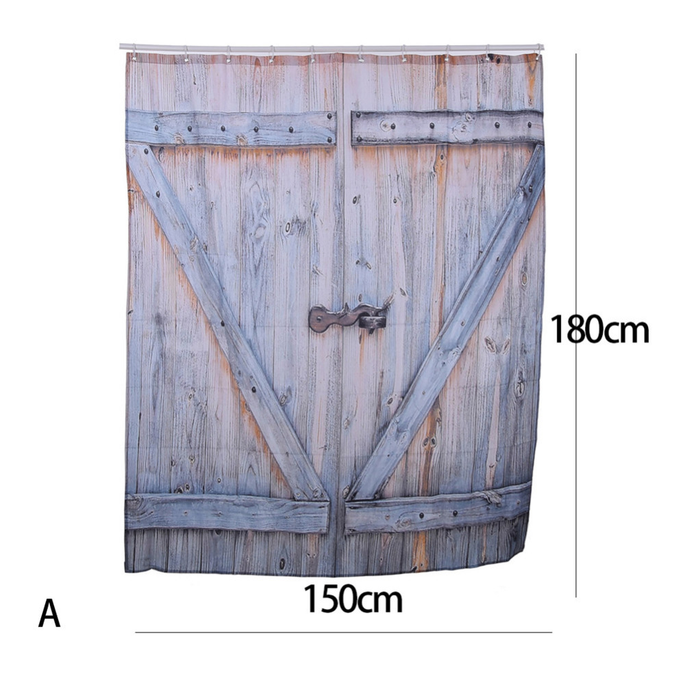 Badezimmer Country Style Us 11 45 10 Off American Country Style Polyester Shower Curtain Old Bronze Wooden Garage Door Vintage Rustic Shower Curtain Bathroom Decor Art In