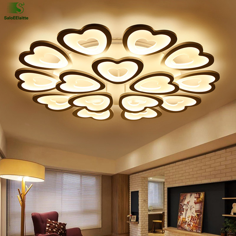 Modern Simple Heart Acrylic Led Ceiling Lights Lamparas White Metal Bedroom Led Ceiling Light Luminarias Ceiling Lamp Fixtures