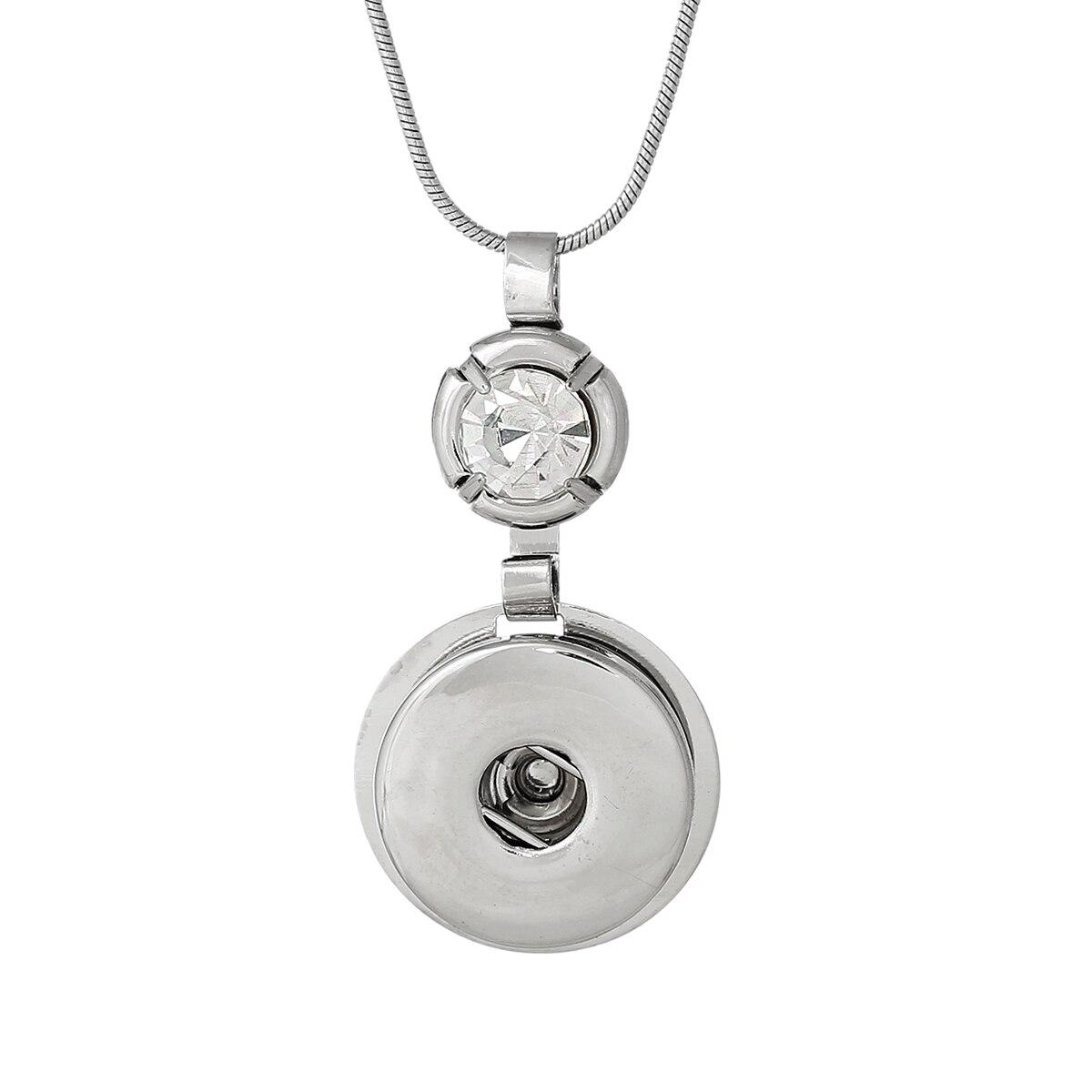 dadb093fcae0 8 estaciones moda Snap collar cadena de la serpiente de la Ronda Tono de  plata rhinestone claro encaja Snap botón 43.5 cm largo