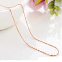 Korean version of 14K Rose Gold Box chain Lady brief vintage trendy necklaces collarbone