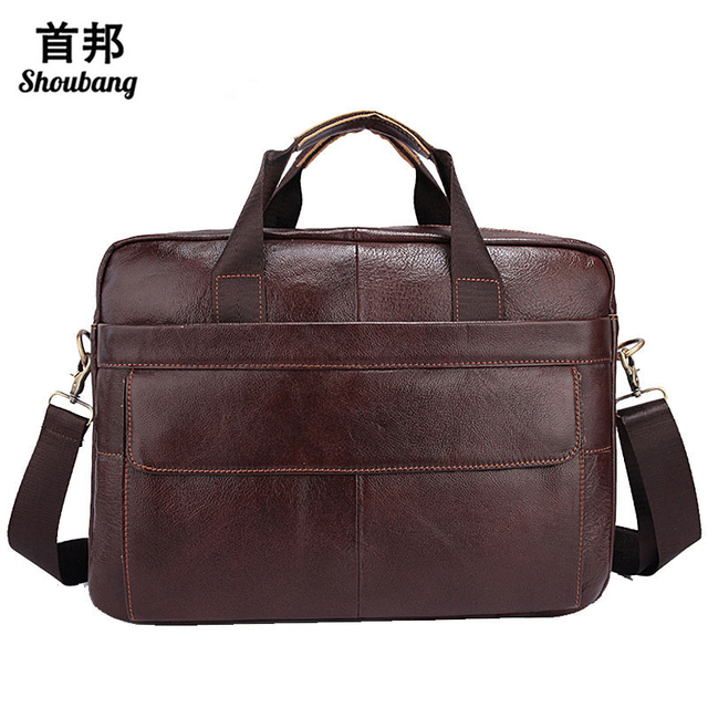 Genuine Leather Bag Men Messenger Bags Casual Italian Handbags Handle Crossbody Laptop Briefcase Luxury