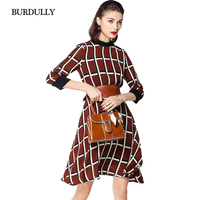 BURDULLY Luxury Plaid Dress Women Spring Summer Ladies High Quality Dresses 2018 Loose European Style Dress