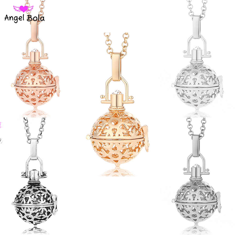 Snowflake Mexican Aromatherapy Oil Pendant DIY Charm 20.5mm Angel Ball Long Necklace Jewelry For Women Harmony Caller Gift NL005