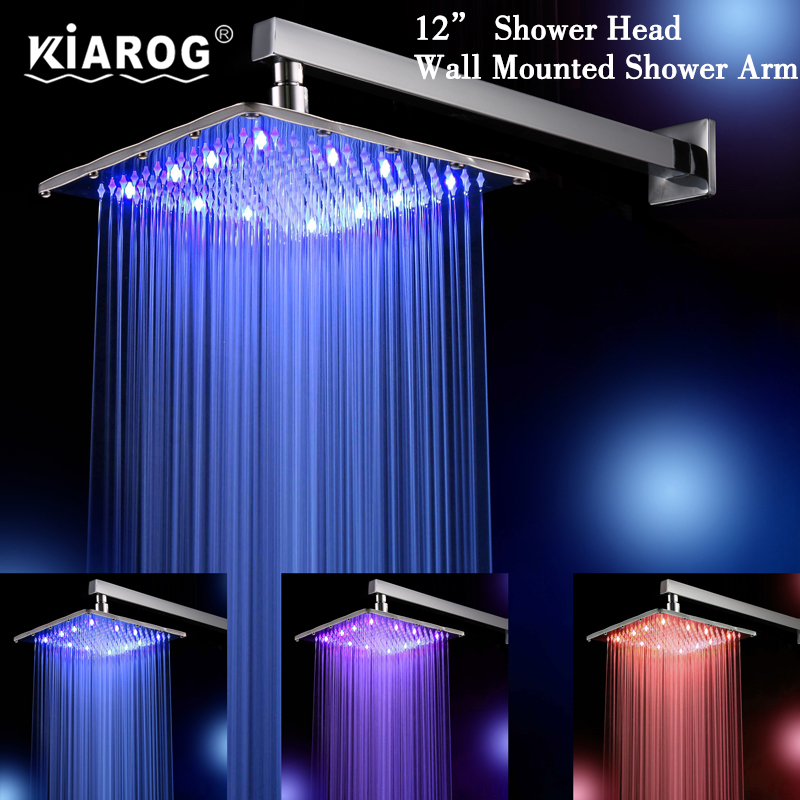 12 Inch Rain Led Shower Head With Wall Mount Or Ceiling Mounted ...
