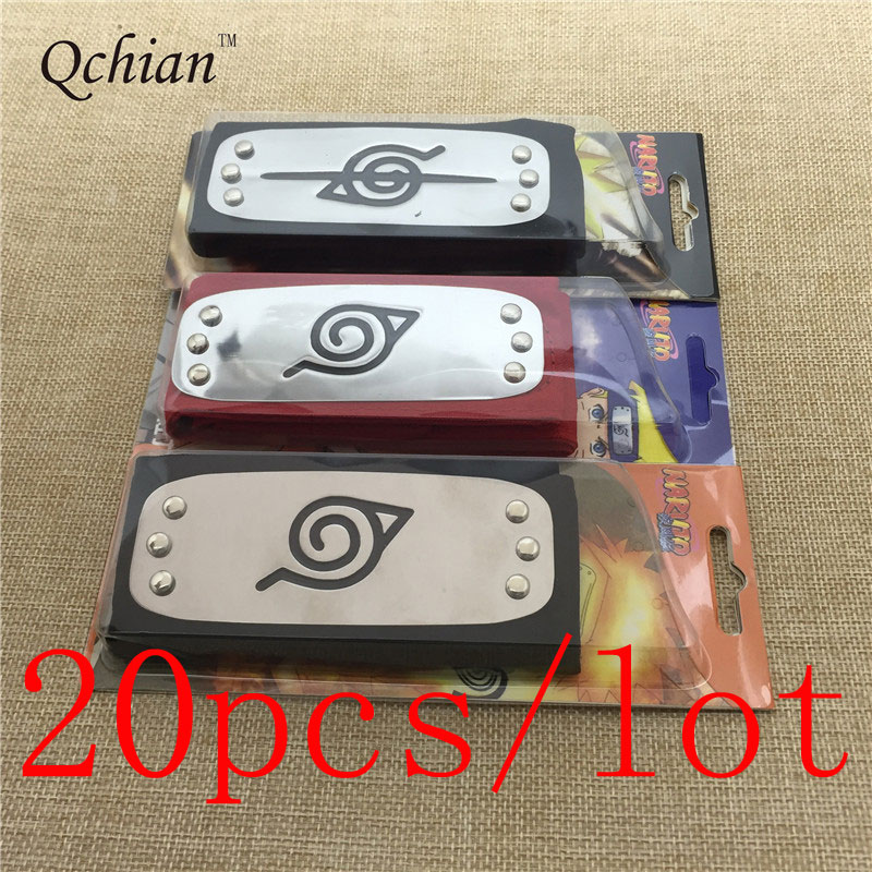 20pcs/lot Naruto Headband For Boys Cosplay Costume Leaf Village Konoha Uchiha Itachi Kakashi Akatsuki Members Madara Headband