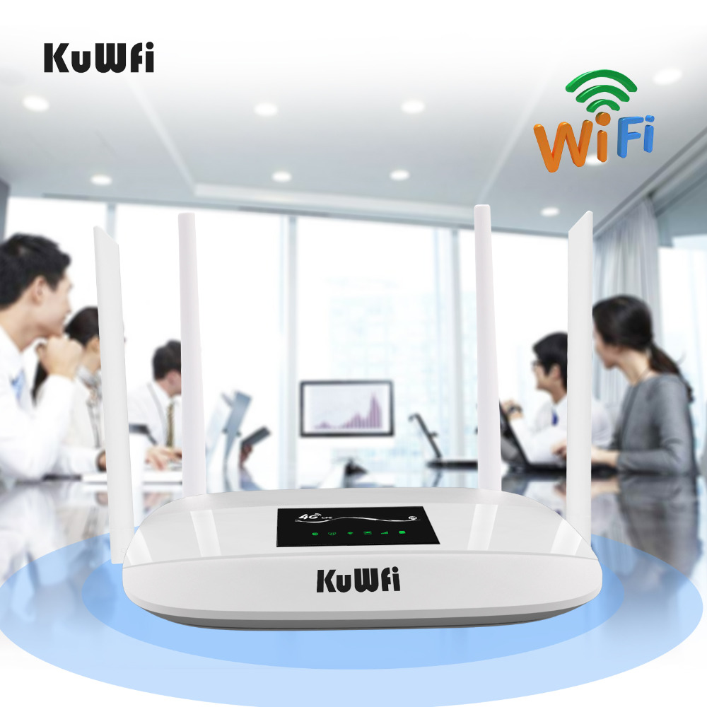 Купить с кэшбэком 300Mbps Unlocked 4G LTE Wifi Router, Indoor 4G Wireless CPE Router with 4Pcs Antennas and LAN Port&SIM Card Slot Up to 32users