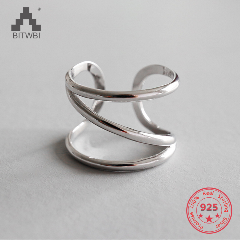 S925 sterling silver fashion personality CHIC simple three-layer line opening ringS925 sterling silver fashion personality CHIC simple three-layer line opening ring