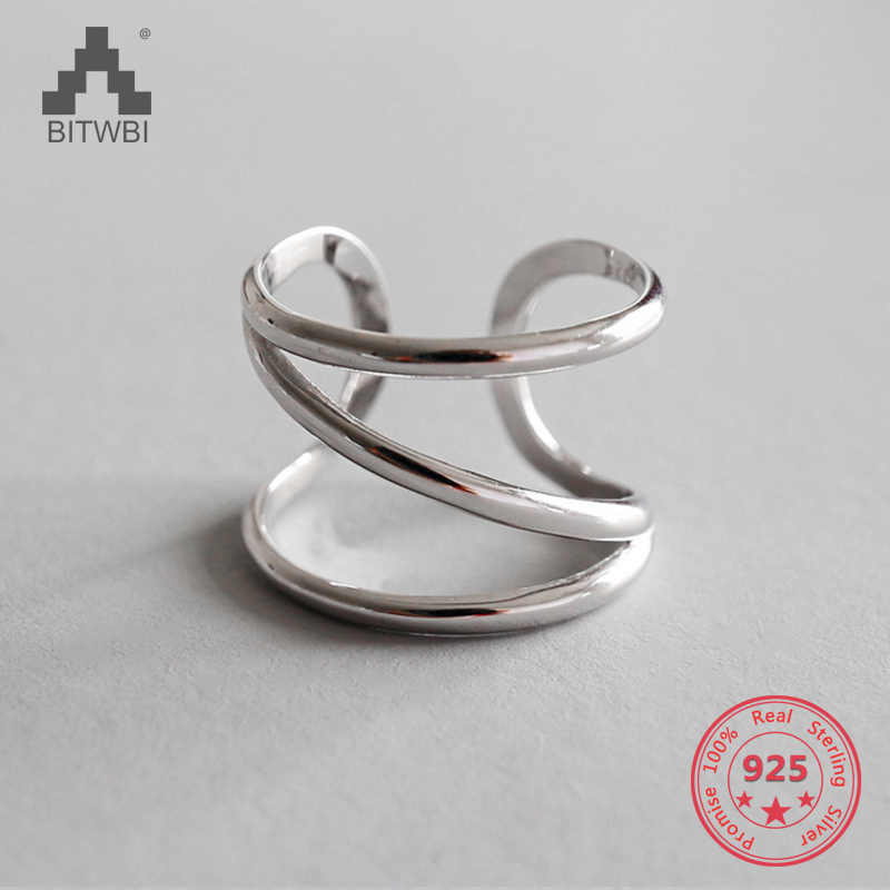 S925 sterling silver fashion personality CHIC simple three-layer line opening ring