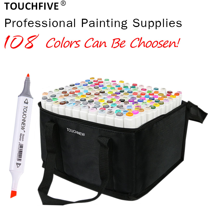 TOUCHFIVE 108 Colors Set Art Markers Brush Pen For Sketching Alcohol Based Markers Dual Head Manga