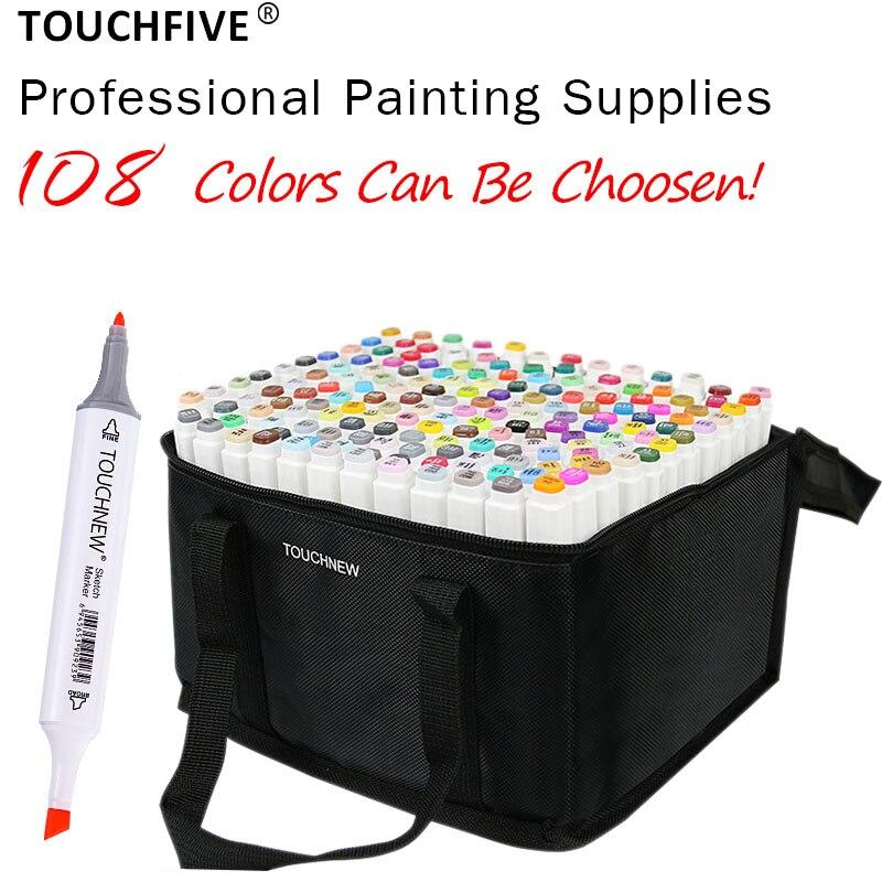 TOUCHFIVE 108 couleurs Set Art marqueurs pinceau stylo pour esquisser des marqueurs à base d'alcool double tête Manga dessin stylos Art fournitures