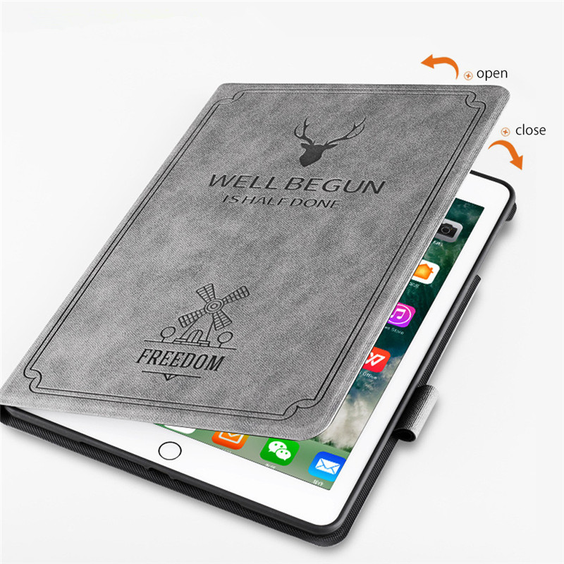 new product 493db 4fa8f Deer Pattern Leather Case For Apple Ipad AIR 1/5 9.7 Inch With Pencil  Holder Smart Cover For Ipad Air 2/Ipad 6 9.7+Screen Film