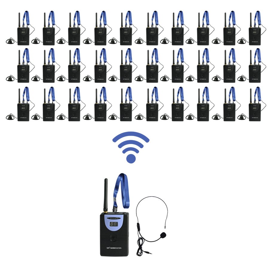 TP-WIRELESS Tour Guide System for Teaching, Travel, Simultaneous Translation,Meeting, Museum Visiting 1 transmitter 30 receivers