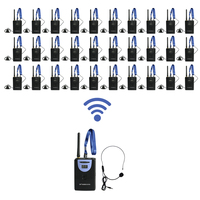 2 4GHz Portable Digital Wireless Tour Guide Translation System Voice Device 1 Transmitter 30 Receiver