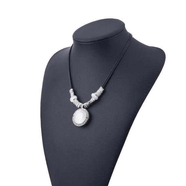 FAMSHIN 2017 Di Modo Opal Dichiarazione Collane & Pendenti con gemme e perle Delle Donne Dell'annata di Cuoio Della Collana Dei Monili