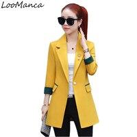 Vintage Women Blazers And Jackets 2018 Spring Fashion Mid Long Blaser Coat Female Gray Yellow Black Ladies Blazer Mujer