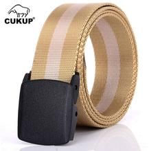 CUKUP Brand Name Design Good Quality Outdoor Resistant Striped Nylon Belts Hard Plastic Buckle Female Accessories Belt CBCK098