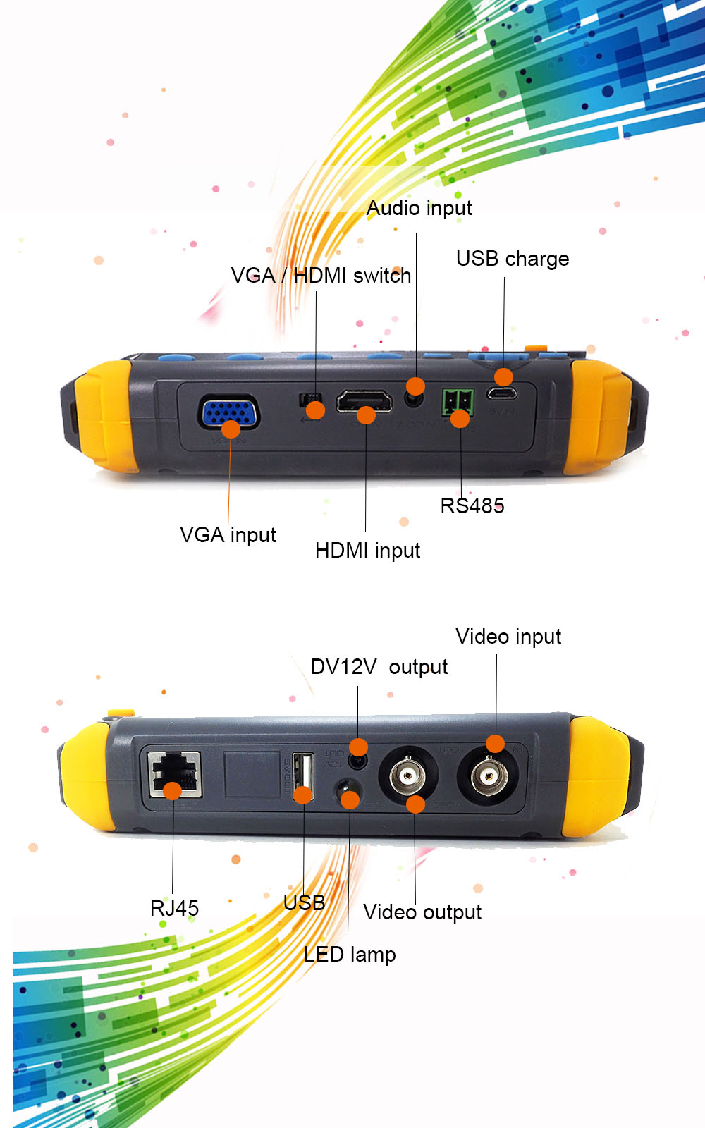 "SeeSii 5/"" Monitor CCTV Camera Tester HD TVI CVI AHD VGA CVBS Test PTZ Control"