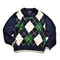 POLO de algodón de cuello redondo suéter geometría niños chicos y chicas suéter de Europa y América Lingge clásico edad 2-7 T