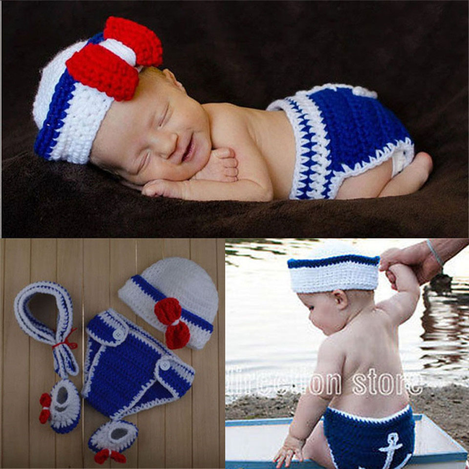 Crochet Newborn Baby Police Outfit Hat&diaper with handcuffs Knitted Baby Boy Photo Props Infant Costume set 1set MZS-15067