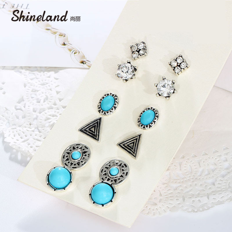 6 Pair/Lot Fashion Vintage Charm Jewelry Round Triangle The Sun God Crystal Rhinestone Stud Earring For Women On Sale 2018