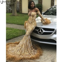 Sexy Mermaid Prom Dresses 2019 Off Shoulder Long Sleeves Feathers Chic Evening Dress Gold Appliques African
