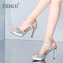 ผู้หญิงรองเท้าแตะฤดูร้อนรองเท้าผู้หญิงรองเท้าแตะเปิดรองเท้าแตะเท้าส้นสูงเงินทอง