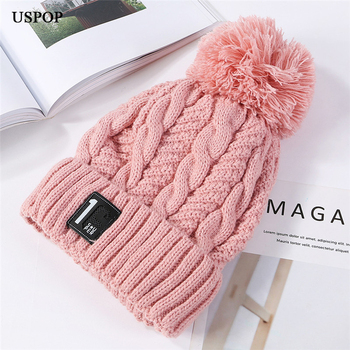 5fee17e30c5 USPOP 2018 New fashion women thick winter hats number label velvet beanies  crimping pompoms knit hats casual warm skullies