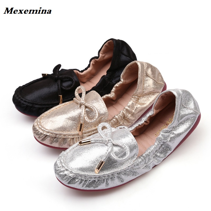 Mexemina Egg-Rolls-Shoes Round-Head Flat Autumn Winter New-Style Shoes. And Bow-Tie Shallow-Mouth