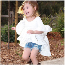 Girls Dresses Children Cotton Asymmetrical Dress Fashion Beautiful Clothes  Summer Cute
