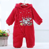 Baby christmas gift baby clothes baby rompers thick warm winter baby jumpsuit pajamas kids clothes cartoon deer body suit hooded