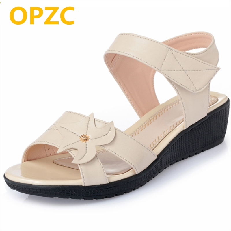 OPZC lady Summer Gladiator Sandals Women Aged Leather Flat Fashion Women Shoes Casual Occasions Comfortable The Female Sandals discount 2018 fashion leather casual flat shoes women sandals summer shoes flat hollow comfortable breathable size 34 44