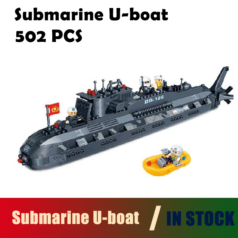 compatible with lego city Model building kits military submarine U-boat 3D blocks Educational toys hobbies for children