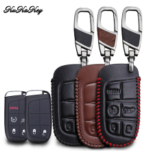 KUKAKEY Genuine Leather Car Key Case For Jeep Wrangler Patriot Grand Cherokee Compass Liberty 2&5Button Key Fob Holder Keyring