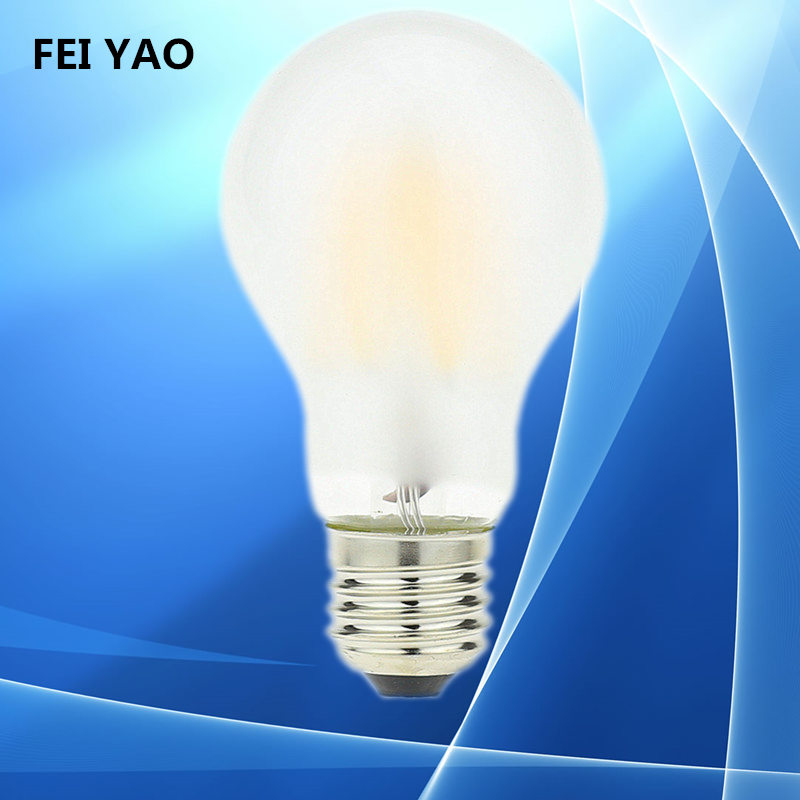 50PCS LED Filament Light LED Bulb E27 E26 dimmable frosted glass 2W 4W 6W 8W 110V 220V A60 vintage edison lamp warm/pure white dimmable g125 led filament bulb light edison e27 base 110v 240v ac g125 4w 6w 8w free shipping