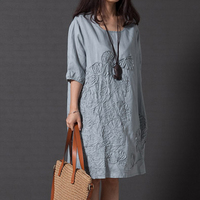 Cotton Linen Vintage Flower Embroidery Women Dress Short Sleeves O Neck Plus Size Loose 2017 New