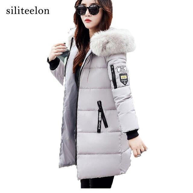 2017 теплый тонкий зимнее пальто меховой воротник Женская куртка с капюшоном зимняя куртка стилей модная стеганая куртка Для женщин толстые пальто
