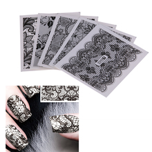 DIY Nail Art Design Black Lace Flower Gel Nail Sticker Water Transfer Fingernail Printing Stickers Manicure Polish Decorations