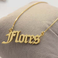Old English Name Pendent Necklace 925 Solid Silver Nameplate Necklace with Box Chain Customized For Girls