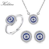 KALETINE Turkey CZ Evil Eye 925 Sterling Silver Jewellery Sets for Women Blue Round Pendant Necklace Ring Stud Earrings Wedding