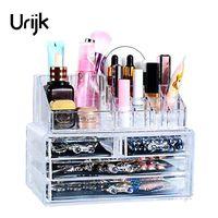 Urijk New Clear Acrylic Makeup Storage Case Nail Polish Rack Lipstick Cosmetic Storage box Holder Makeup Brush Makeup Organizer