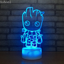Cute Groot 3D Table Lamp Novelty LED Night light Home Decor 7 Color Change Night Light Kids Gifts table decor color change best gift led night light