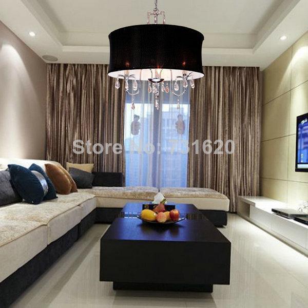 110 240 V Kostenloser Versand Schwarz Lampenschirm Moderne Wohnzimmer Pendelleuchten D45cm E14 Led Leuchtmittel Ausgeschlossen